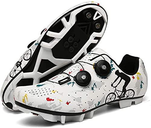 KUXUAN Zapatillas Ciclismo Hombre - Zapatillas MTB con Cerraduras,Calzado Deportivo de Invierno para Hombre y Mujer/Suelas de Nailon,White-39EU
