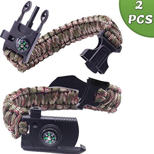 RimFly Survival Bracelet Pack 2 Mehrzweck-Einheiten Militärisches Parakord mit Feuerstein + Messer + Kompass + Pfeife + Messer Seil Armee Tarnung Feuerstein Taktisches Armband
