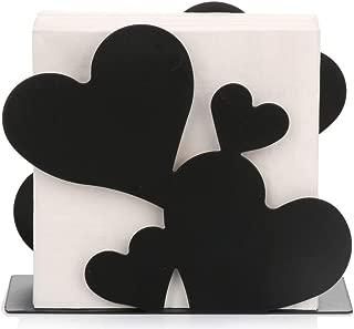 Paper Napkin Holder for Kitchen Tables and Counter Tops| Black Galvanized Napkin Basket Caddy| Vintage Modern Décor| Farmhouse Decoration (Heart Sculpture)