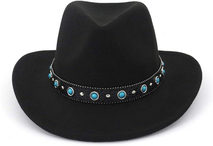 no-branded Fedora Hat Leather Decorated Cotton Jazz Fedora Hat Men Women Turquoise Decorated Casual Cowboy Hat ZRZZUS (Color : Black, Size : 56-58)