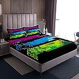 Juego de sábanas de skate para niños y niñas, juego de ropa de cama de colores para decoración moderna, sábana bajera ajustable para dormitorio, colección de 3 piezas de tamaño doble
