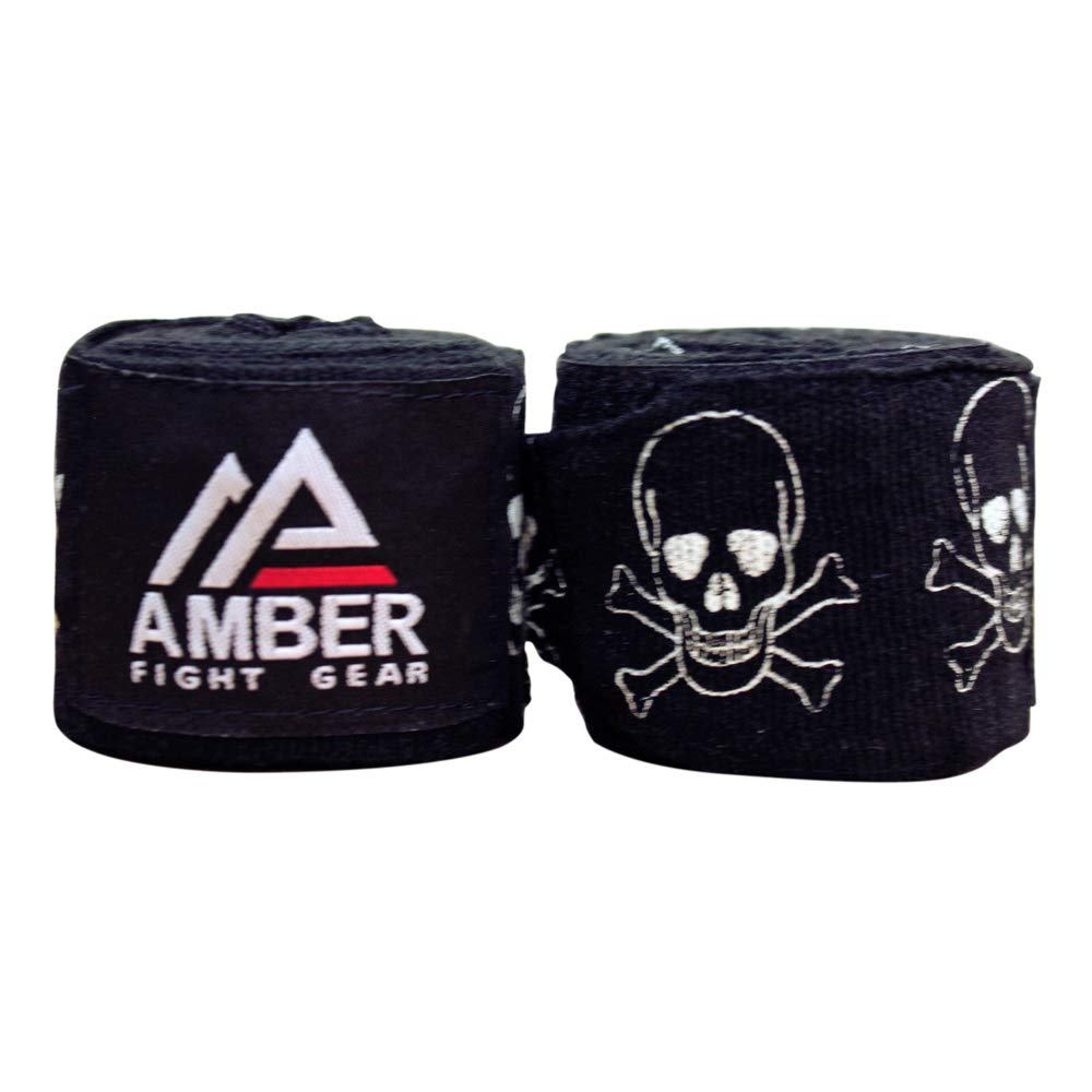 1 Pair Amber Fight Gear Adult 180 4.5 Meters Mexican Style Semi-Elastic Hand Wraps with Pattern for Boxing Kickboxing Muay Thai MMA Classes or Home Workouts Men Gym Women Adults