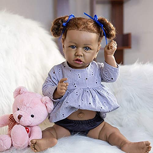 LLKK 58cm Black Reborn Toddler Dolls African American Soft Vinyl recién nacido niña bebé (pp algodon-blue eyes-black hair)