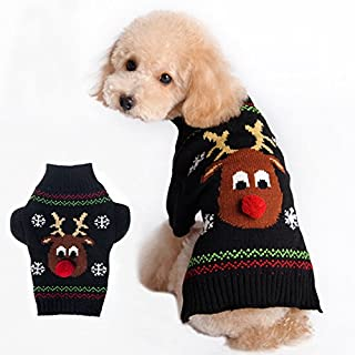 Ollypet Christmas Reindeer Knitwear for Small Dogs Chihuahua Holiday Sweater Black