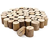 SurePromise Rustic Wooden Wedding Decor Venue Name Place Card Holders Log Name Card Holders (50)