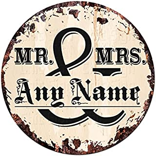 ANY NAME'S MR & MRS Custom Personalized Chic Tin Sign Rustic Shabby Vintage style Retro Kitchen Bar Pub Coffee Shop man cave Decor Gift Ideas