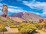 DFGJ Rompecabezas Pico del Teide con la Famosa formación rocosa Roque Cinchado, Tenerife, Islas Canarias, España 1500 Piezas (87 * 57cm)