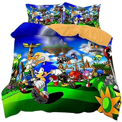 THAVASAM Sonic Duvet Cover Set, 3D Sonic Anime Digital Print, Breathable, Comfortable For All Seasons, The Hedgehog Children's Duvet Cover Set, Polyester Bevel (05.220 x 240 cm)