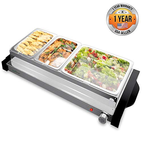 NutriChef Hot Plate Food Warmer Triple Buffet Server Chafing Dish Set, Portable Countertop Stainless Steel Electric Warming Tray w/ 3 Section 1.6, 3.2 Qt Serving Containers, Lids, Large, Black