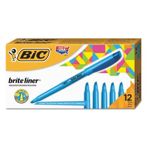 BIC - Brite Liner Highlighter, Chisel Tip, Fluorescent Blue Ink, 1 Dozen BL11-BE (12)