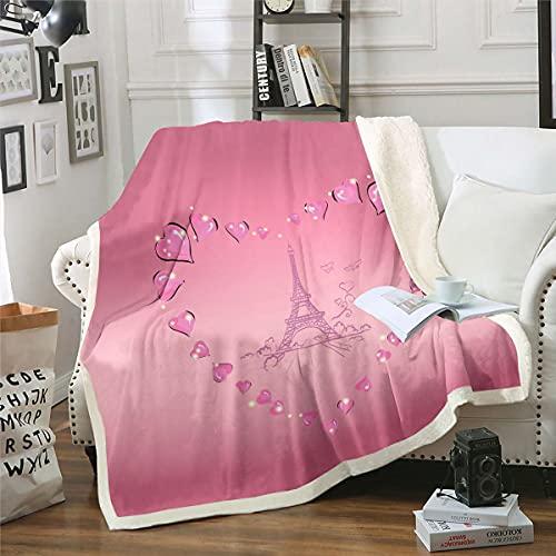 Manta de forro polar para parejas, de la torre Eiffel de Paris, para sofá, estilo francés, manta de felpa, ultra suave, cálida, difusa, romántica, rosa bebé, 30 x 40 pulgadas