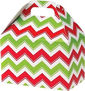 Rustic Pearl Collection Christmas Cookie Boxes, Large Gable Boxes - Holiday Red/Green Chevron, Set of 6
