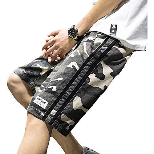 Pantalones Cortos Rectos con cordón de Cintura elástica de Verano para Hombre, Pantalones Cortos básicos con Estampado de Camuflaje Informal de Tendencia de sección Delgada, versión Diaria 4XL