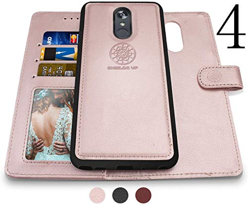 LG Stylo 4 Wallet Case, LG Stylo 4 Plus Case, LG Q Stylus Case, Shileds Up [Detachable] Slim Magnetic Case, Card/Cash Slots, [Vegan Leather] Cover for LG Stylo 4 Plus -Rose Gold