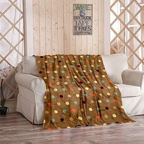 Kuidf Manta geométrica colorida de franela marrón con lunares de lujo para sofá cama o sofá de 50 x 60 pulgadas