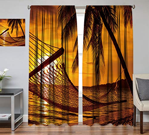 Hydaprint Beach Blackout Fabric Curtain, Silhouette of Hammock by The Ocean on Tropical Beach at Romantic Sunset Seaside Artsy Room Darkening Curtain for Home Decor, Each Panel 54' Wx 90' L Orange