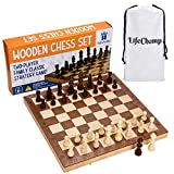 Chess Set for Adults and Kids with 15' Inch Large Folding Wooden Game Board and Storage for The Handcrafted Wood Chess...