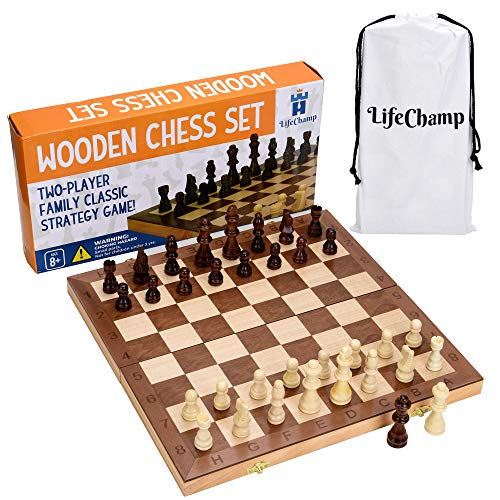 Chess Set for Adults and Kids with 15quot Inch Large Folding Wooden Game Board and Storage for The Handcrafted Wood Chess Pieces