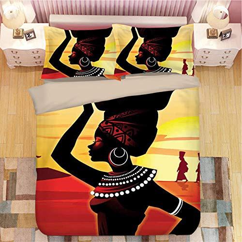 Raaooaceo® Påslakanset retro tribal kvinna king size täcke polyester tygöverdrag sängkläder, enkel skötsel, 3 delar mikrofiber bäddset, 240 x 220 cm - duntäcke tonåring sängkläder