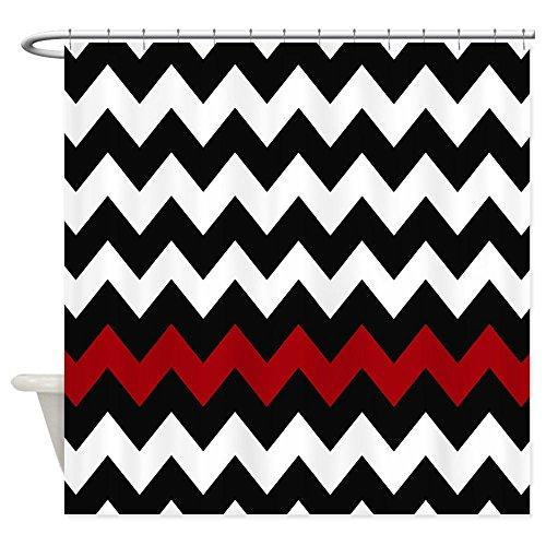 "CafePress Black and Red Chevron Decorative Fabric Shower Curtain (69""x70"")"