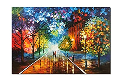 Diathou 24x36 inches 100% Hand Painted Oil Painting Lovers Stroll The Colorful Streets Oil Painting canvases Abstract Works of Art Wood Carving Interior Frame Wall Hanging Decorative Oil Paintings by Diathou