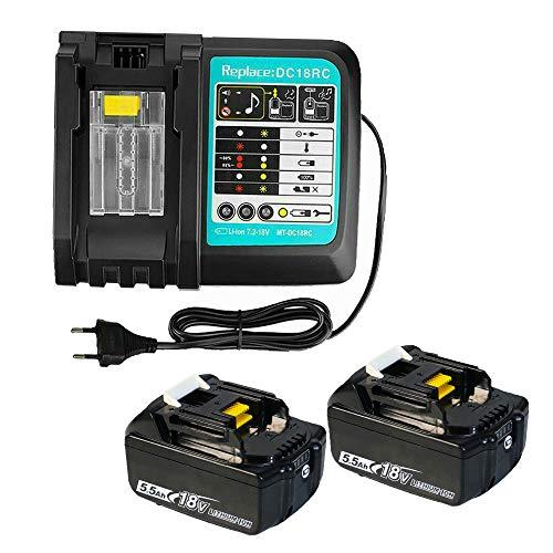 5500mAh Ersatzbatterie für Makita Akku 18V 5,5Ah x 2 + Ersatzladegerät für Makita DC18RC BL1850 BL1860 BL1840 BL1830 BL1815 | 2 x Li-Ionen-Akkus + 1 x Ladegerät