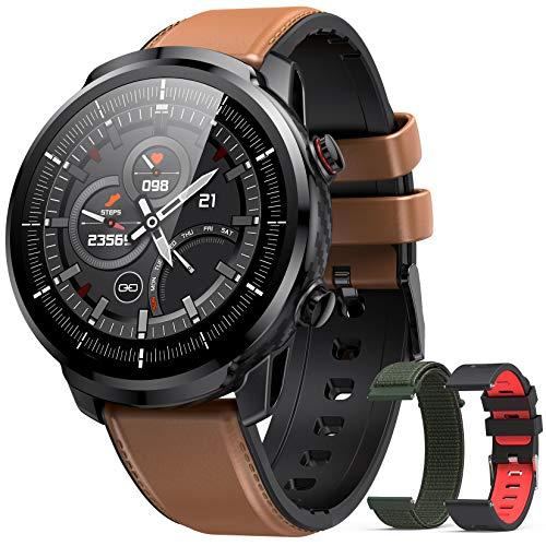Hommie Smartwatch für Herren, Smartwatch IP68, Fitnessuhr mit 3 verschiedenen Riemen, Smartwatch mit Touchscreen mit Herzfrequenzmesser, Sportuhr für iOS Android Samsung Huawei