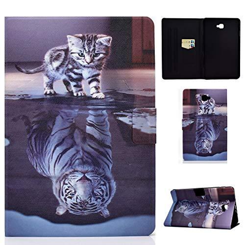 Succtop Samsung Tab A6 Hülle PU Leder Folio Flip Stand Tasche Brieftasche Tablet Schutzhülle mit Stifthalter und Kartenschlitz für Samsung Galaxy Tab A 2016 10.1 Zoll SM-T580/SM-T585 Katze und Tiger
