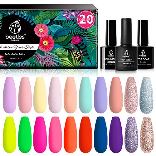 Beetles 20 Pcs Gel Nail Polish Kit Valentine's Day Collection Nude Pink Red Nail Gel Set Pastel Neon Blue Gel Polish Girlfriend Gift Kit with Glossy & Matte Top and Base Coat Christmas Holiday Box 2021 Nails