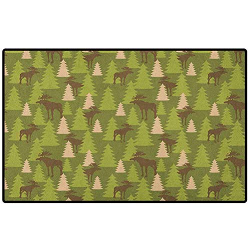 Deer Doormat Indoor 36x24 Animals in The Forrest Mooses and Pine Trees Pattern Canada Foliage Mammal Design Floor Rug Indoor/Front Door Mats Home Decor