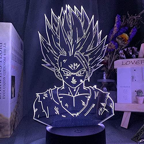 Lámpara 3D Dragon Ball Z Gohan Figura Niño Dormitorio Decoración Noche Luz Fresca Niños Regalo Anime Gadget Led Noche Luz Dragón Ball-7 Colores