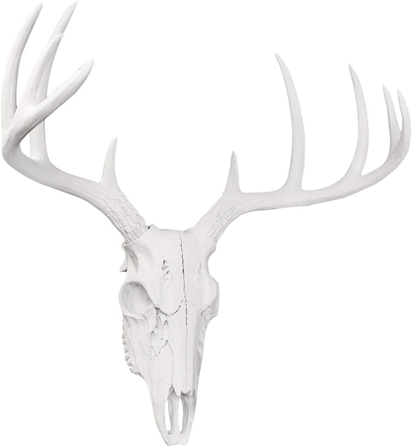 Wall Charmers Large White Faux Deer Skull - 21  Faux Taxidermy Animal Head Wall Decor - Handmade Farmhouse Decor