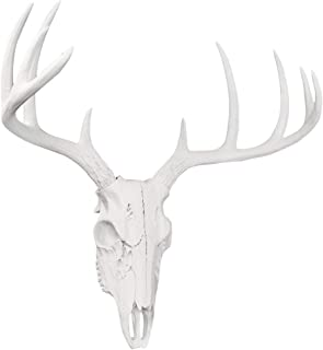 Wall Charmers Large White Faux Deer Skull - 21 inch Faux Taxidermy Animal Head Wall Decor - Handmade Farmhouse Decor
