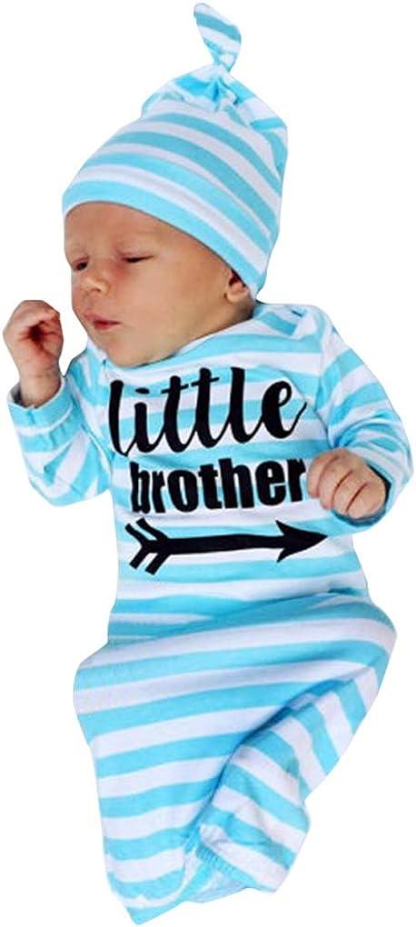 DPSKY Newborn Baby Sleeper Gowns & Headband Little Sister Brother Printed Striped Baby Sleeping Bag