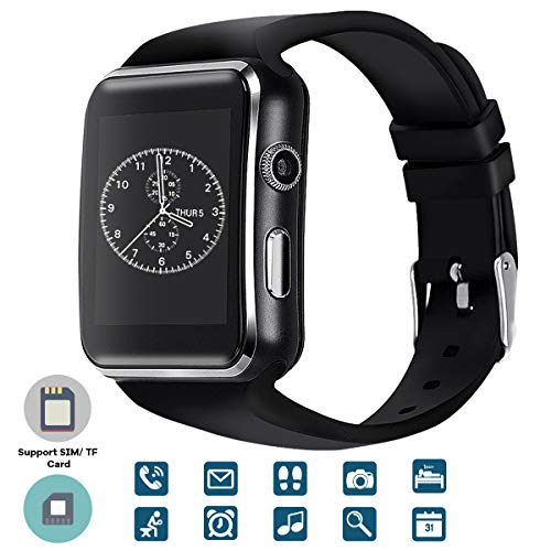 TagoBee TB01 Bluetooth Smart Watch con Supporto per Fotocamera Sim Card Whatsapp Facebook Notifica Compatiable con Tutti i telefoni Android e iPhone (Funzione parziale) Nero