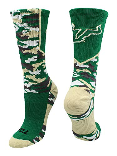 TCK South Florida Bulls Woodland Camo Crew Socks (Green/Gold, Large)
