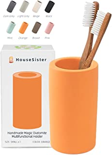 HouseSister オーガニック珪藻土歯ブラシ 歯磨き粉 メイクアップブラシ カミソリホルダー グレー バスルームカウンタートップオーガナイザー スタンドカップオーガナイザー S オレンジ HSDTH