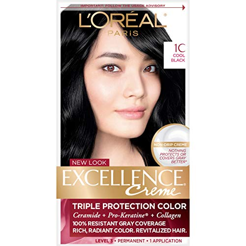 L'Oreal Paris Excellence Creme Permanent Hair Color, 1C Cool Black, 100 percent Gray Coverage Hair Dye, Pack of 1