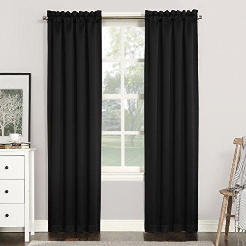 Sun Zero 51743 Easton Blackout Energy Efficient Rod Pocket Curtain Panel, 40  x 84 , Black