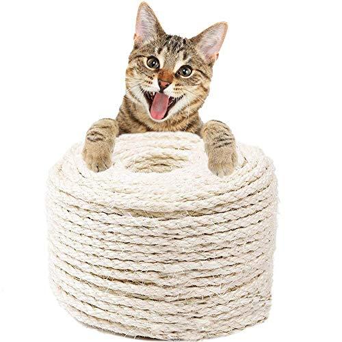 Hogdseirrs Natural Sisal Seil, Mehrzweckseil Sisal, 6mm Katzen Natürlich Sisal Seil, Natürliches Sisalseil für Haushalt, Garten & Basteln, Perfekt geeignet für Katzen Kratzbäume(10 Meter)