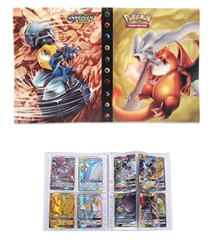 UHIPPO Album for Pokemon GX Mega Cards, Trading Cards Holder Binder, Collectible Card Album, Floder Binder for Pokemon Cards, 30 Pages–Can Hold 240 Cards (Back-to-Back) (Reshiram und Charizard)