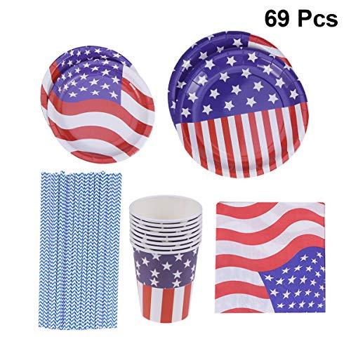 Amosfun 69 stücke Amerikanische Flagge Patriotische Geschirr Set Pappteller Servietten Tassen Strohhalme 4. Juli Dekoration für Unabhängigkeitstag Geburtstag Hochzeit Party Supplies