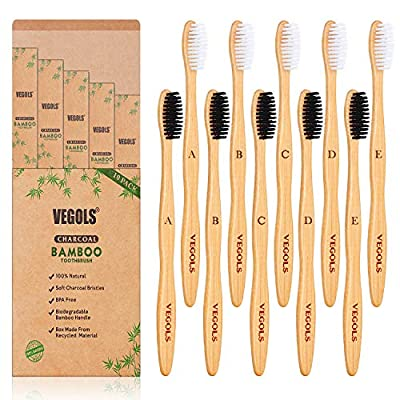 Natural Biodegradable Bamboo Toothbrush, (Pack of 10) BPA Free Eco-Friendly Charcoal Toothbrushes, Black/White
