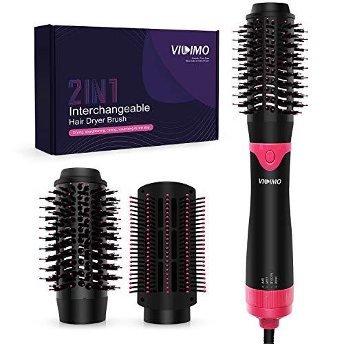 Haartrockner warmluftbürste, VILIMO 5 in 1 Multifunktions Föhnbürste mit 3 Temperaturen & 2 Luftstromstufen, Stylingbürsten Mit 2 Austauschbaren Bürstenköpfen, für alle Haartypen 1000W