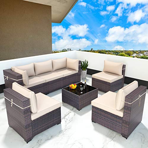 Gotland 7 Piece Outdoor Patio Furniture Sets All-Weather Outdoor Sectional Furniture PE Wicker Patio...