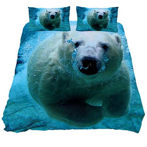 ASIGA Bettbezug-Set, 2-teilig, bedruckt, mit Reißverschluss, Eisbär, schwimmend