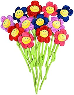 Rhode Island Novelty Bendable 13 Inch Plush Smiling Face Daisy Flowers 12 per Order
