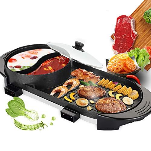 ETE ETMATE Tragbarer elektrischer Grill, elektrischer Grillgrill Indoor-Hot Pot Chafing Dish, große Kapazität Haushalt multifunktionaler Antihaft-Pfanne-Elektroherd mit 5 Temperatureinstellungen