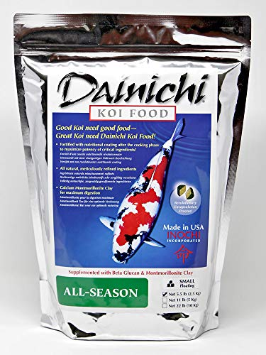 Dainichi Koi Food - All-Season (5.5 Lbs), Small (3.5 mm) Floating Pellet