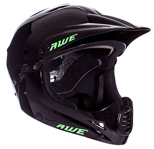 AWE - Casco integral para BMX, tamaño medio, 54-58 cm, color negro